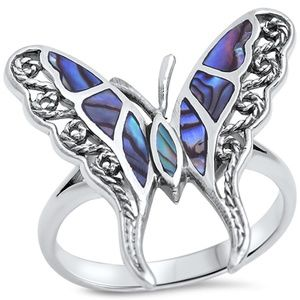 925 ABALONE BUTTERFLY RING SIZE 8 GORGEOUS